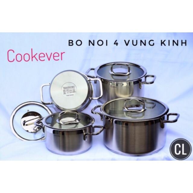 Bộ nồi inox Cookever 4 chiếc 3 đáy inox 304