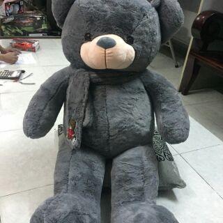 Teddy choàng khăn Xám 1m2 (khổ vải 1m5)THÊU TÊN THEO YÊU CẦU