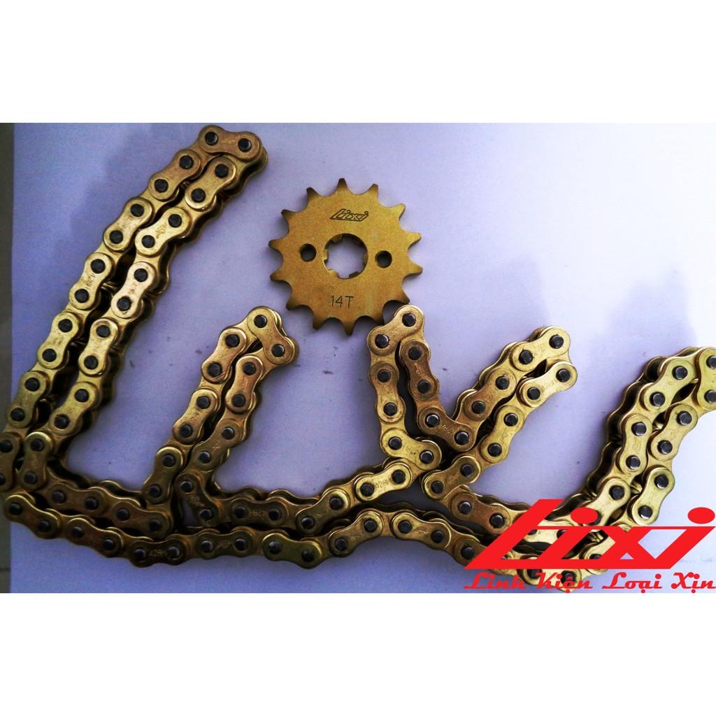 [Combo vận hành]Bộ nhông sên dĩa xe WAVE A/S/RS, Future FI, Blade, Axelo, Elegant 428H-14T-36T-106L vàng kim Lixi