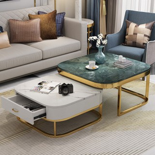 Bộ bàn trà sofa❤FREE SHIP❤ Bàn trà mặt đá xanh vuông chân mạ vàng có ngăn kéo , Trang trí nội thất phòng khách