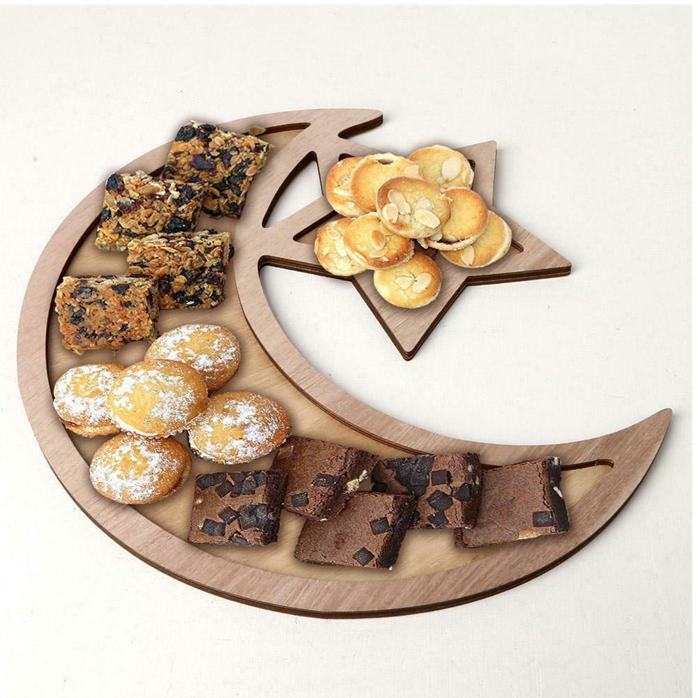 Islam Eid Moon Star Shape Storage Kitchen Table Decoration Biscuit DIY Dessert Party Supplies Rustic Food Serving Tray