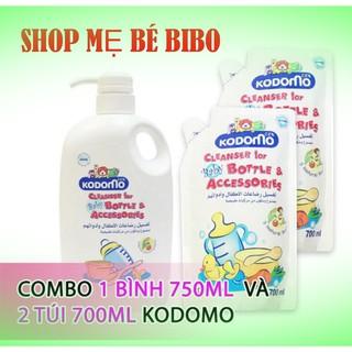 Combo Nước Rửa Bình Sữa Kodomo 750ml Chai Bịch 650ml