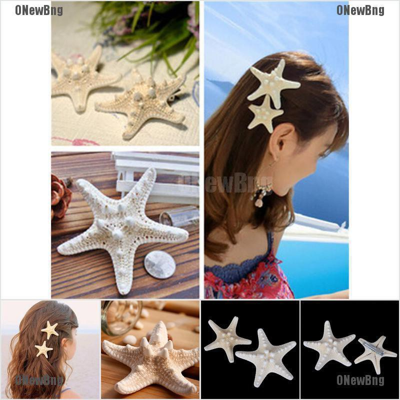 ONewBng✪ 2Pcs Fashion Lady Girl Beach Wedding Natural Starfish Sea Star Hair Clip Hairpin Gift