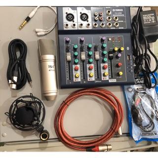 Combo mixer F4 mic thu âm AT100 livestream karaoke chuyên nghiệp