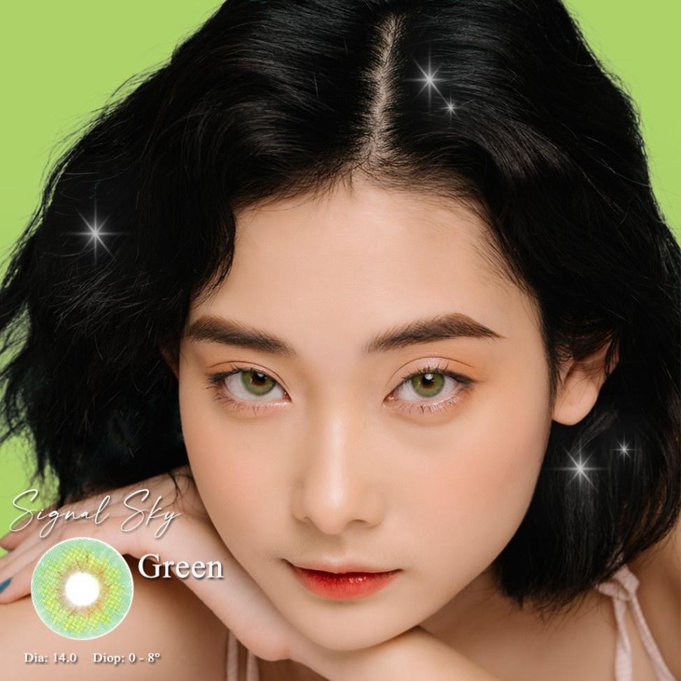❈■﹍[CAM KẾT CHÍNH HÃNG] Kính áp tròng Hàn Quốc BLUE EYES SIGNAL SKY GREEN – Lens cận thời trang