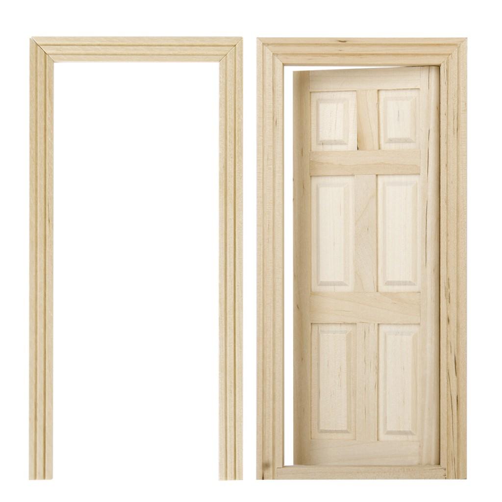 1/12 Dollhouse Miniature 6-Panel Interior Wooden Door DIY Accessory