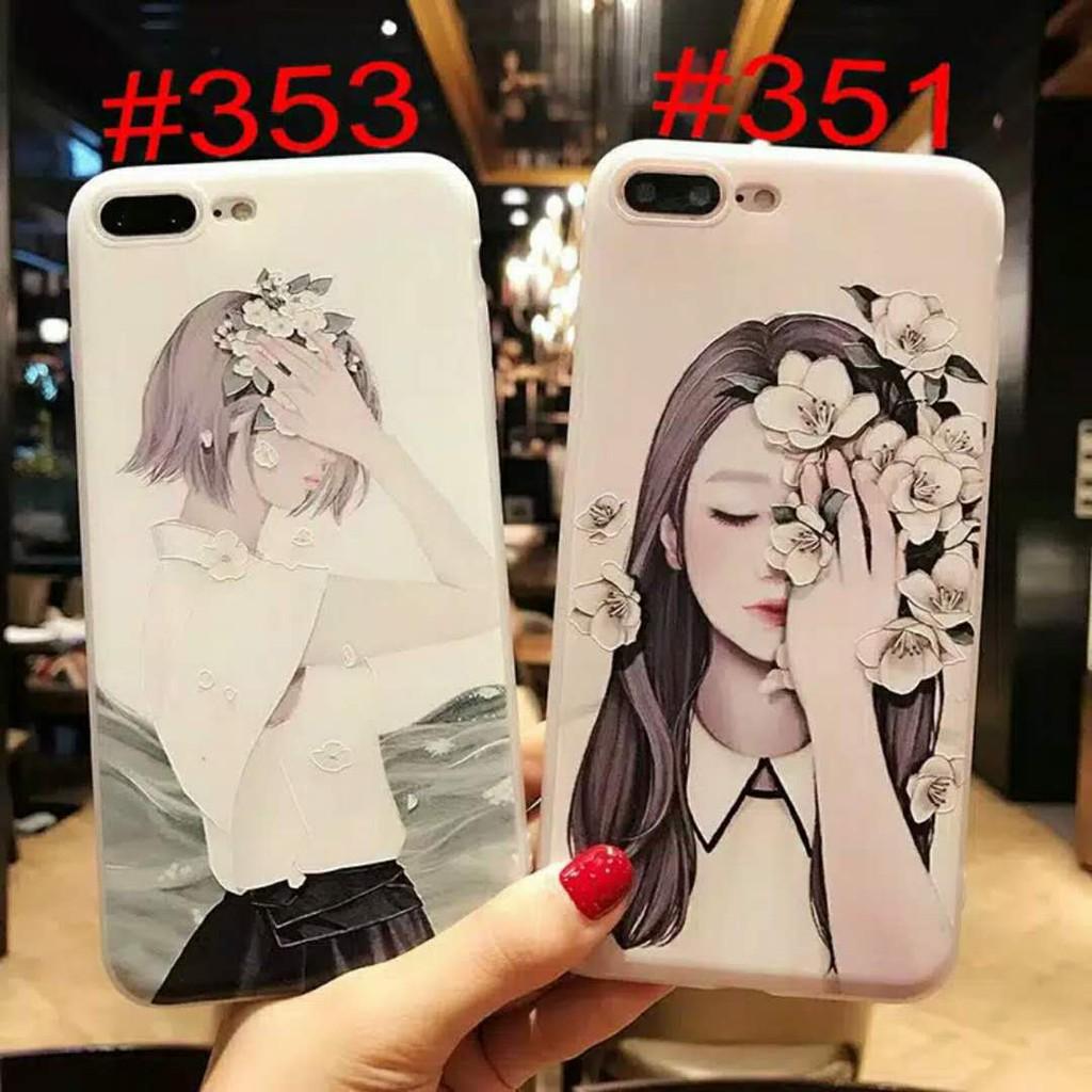 VIVO V15 Pro V11 V11i Y91 Y91i Y85 V9 Y81 Y71 V5s V5 Lite V7 Plus Flower Pattern Emboss Case Korea Girl Phone Back Cover