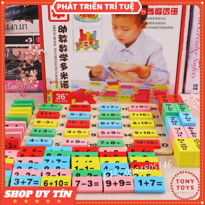 Đồ chơi DOMINO phép tính 110 quân bằng gỗ – Domino toán học – Ghép hình – Bộ xếp hình cho bé