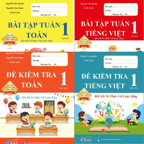 Sách - Combo Bài Tập Tuần và Đề Kiểm Tra Toán và Tiếng Việt - Kết Nối Tri Thức Với Cuộc Sống - Học Kì 2 (4 cuốn)