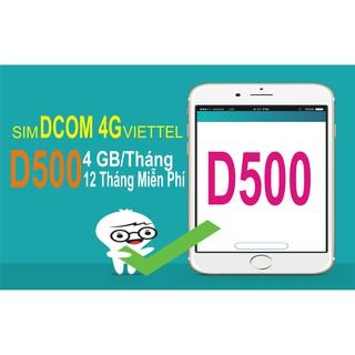 Sim 4G Viettel D500 4Gb/tháng – Miễn phí 12 tháng không nạp tiền