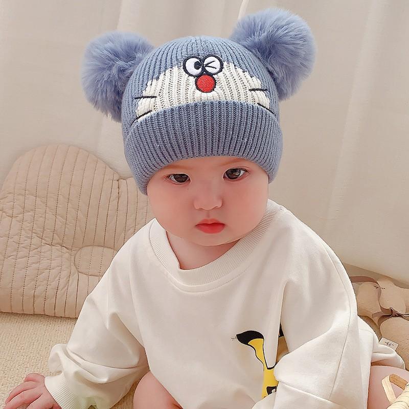 Mũ len doremon cho bé đội mùa đông có hai quả bông hình Mèo, mũ nón len đội ấm đầu cho bé trai bé gái 0-3 tuổi
