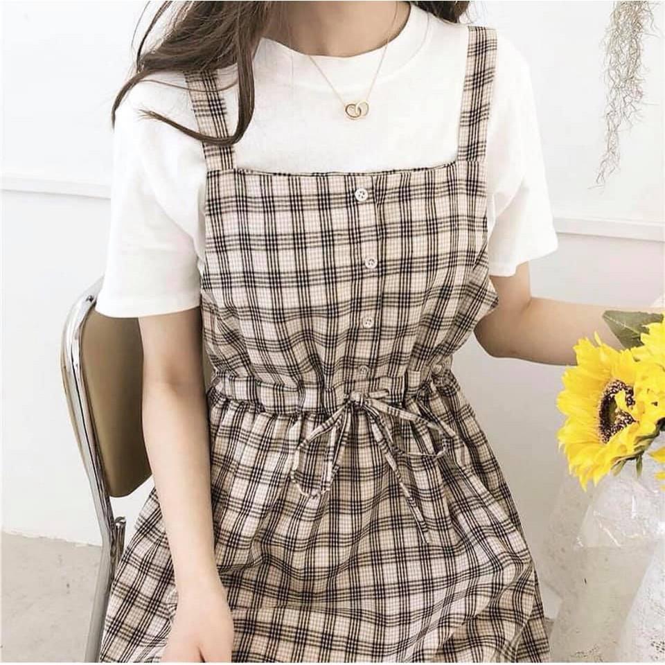 [SIÊU XINH] Váy yếm kẻ Hàn Quốc 3 màu (Sỉ từ 5sp bất kỳ)
