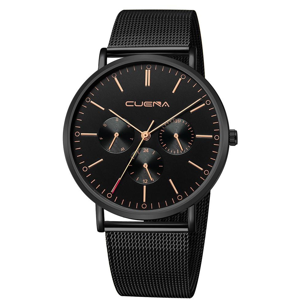 (SIÊU PHẨM) Đồng hồ nam CUENA CU1804 doanh nhân viền thép siêu mỏng lịch lãm dây thép mành cao cấp