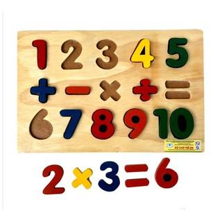 Bảng ghép số nổi và phép tính bằng gỗ cho bé