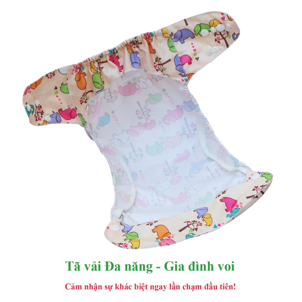 Combo tã vải Đa năng BabyCute (1 Vỏ + 2 Lót Ngày) size L (14-24kg) - Giao mẫu ngẫu nhiên