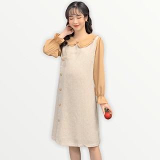 MEDYLA - Váy bầu thiết kế cách điệu 2 lớp dạ tex phối trượt hàn cho mẹ bầu diện tết - VS379 thumbnail