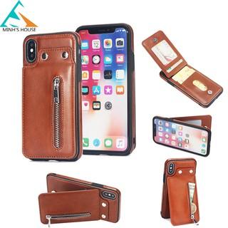 [Nhập ELVUIQTQD giảm 20K] Bao da Iphone X, Xs, Xs Max, Xr kiêm ví đựng tiền, thẻ, card rất tiện lợi Minh's House