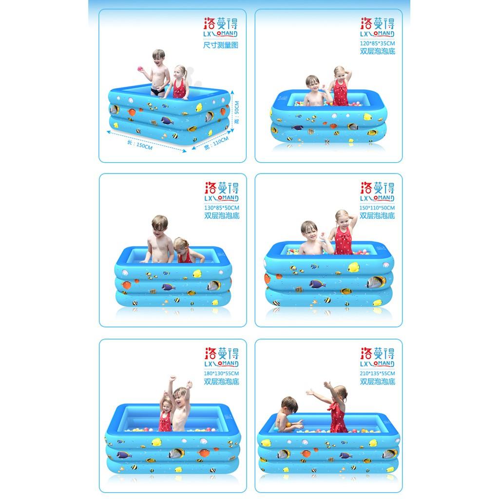 Bể bơi phao 3 tầng loại 1 size 180X130X55cm, dày cho Bé tặng kèm bộ vá