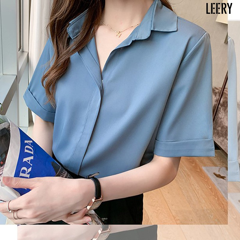 Mặc gì đẹp: Phong cách với Áo sơ mi nữ công sở cao cấp kiểu Hàn Quốc form rộng đẹp ngắn tay màu Trắng Đen Be Xanh LEERY SM-02