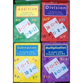 2 hộp mỗi hộp là bộ 36 thẻ giấy bìa 2 mặt, dạy cho bé học phép toán cộng và trừ hay Nhân và Chia. YW5408