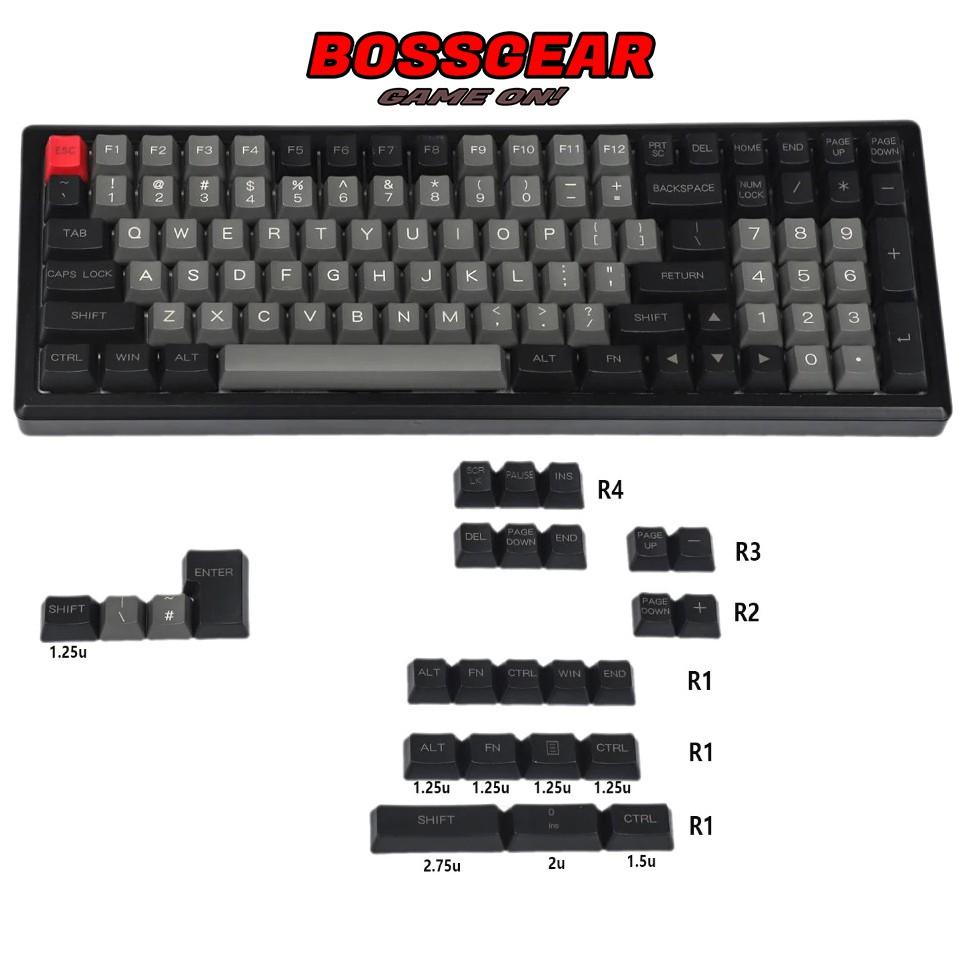 Bộ Keycap Dolch 125 phím Font chữ to, OEM Profile Thick PBT, In Laser, lắp đủ nhiều layout 68 96 84 104 87 61