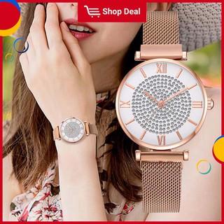 Đồng hồ đeo tay dạ quang ánh sao khóa nam châm phối dây lưới dành cho nữ thumbnail