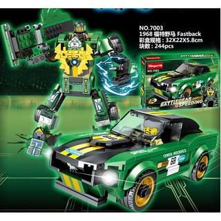Xếp Hình Ninjago Siêu Xe + Robot 2 trong 1 Màu Xanh lam. Lego lắp ráp đồ chơi cho bé trai