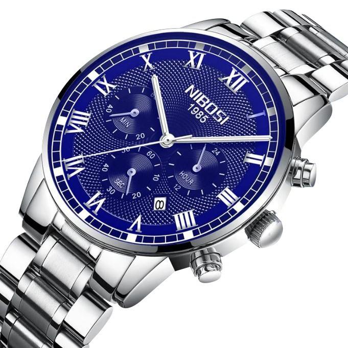 [Tặng vòng tay]Đồng hồ nam NIBOSI chính hãng NI2339.06 dây thép đúc đặc cao cấp