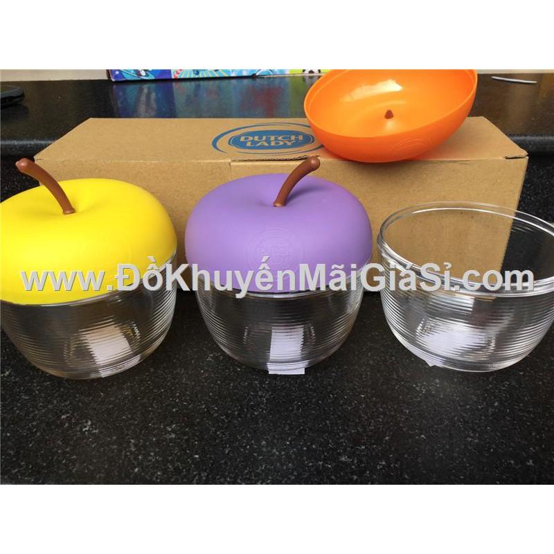 Bộ 3 hũ thủy tinh hình trái táo Dutch Lady - Kt hũ: 12 x 9.5 cm