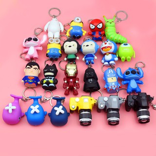 Creative cute cartoon led light vocal key ring bag bag pendant student children