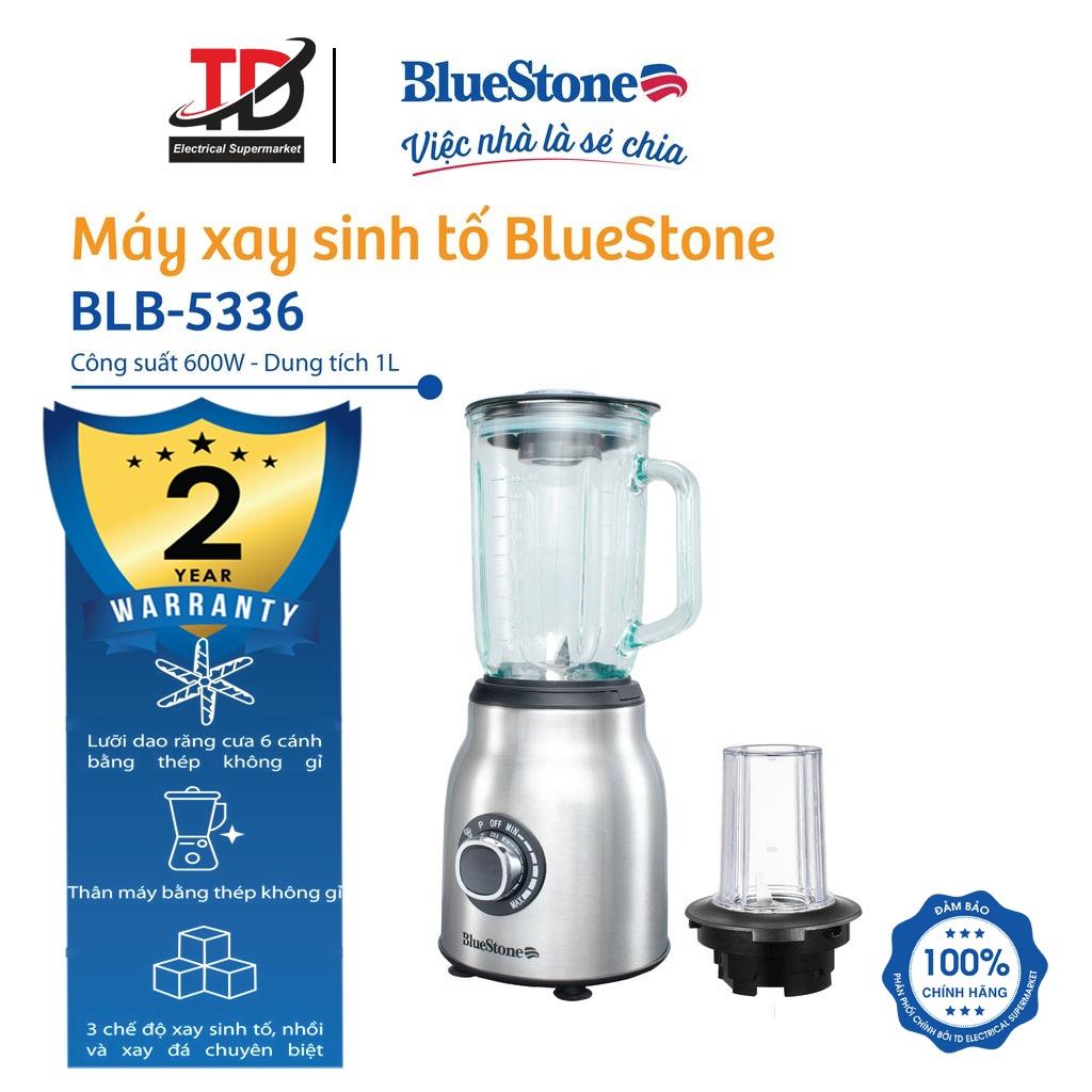 Máy xay sinh tố BlueStone BLB-5336 - 600W Cối thủy tinh cao cấp dung tích  1000ml, Bảo hành chính hãng 2 năm - Máy ép, Xay sinh tố & Máy làm sữa