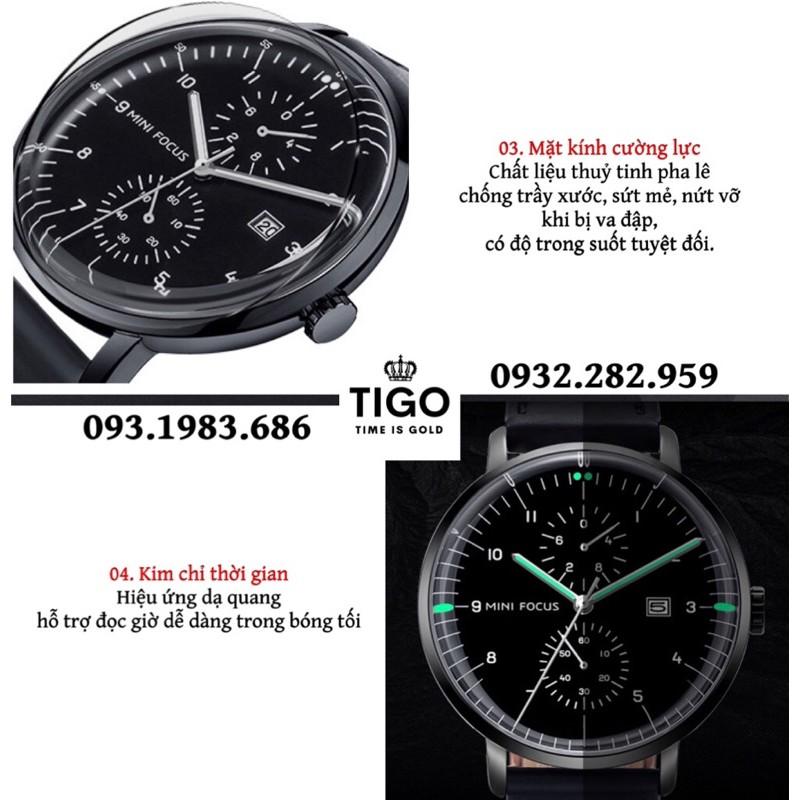 Đồng Hồ Nam MINI FOCUS MF0052G.01 Dây Da Đen Chống Nước 3 Kim Trẻ Trung Đẹp Cao Cấp - TIGO