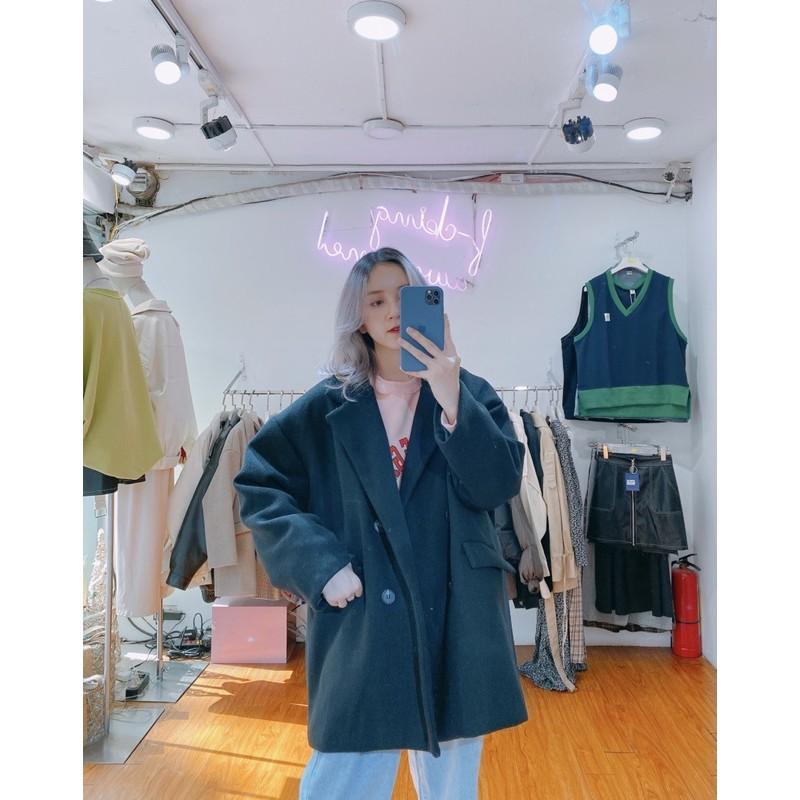 Áo khoác dạ trơn Minion Clothing form rộng, blazer phong cách Streetwear Ulzzang A2913