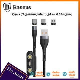 Cáp từ tính nam châm Baseus kèm USB to Lightning / Type C / MicroUSB [3A, 1M] – Sạc nhanh – Đầu nam châm hút chắc chắn