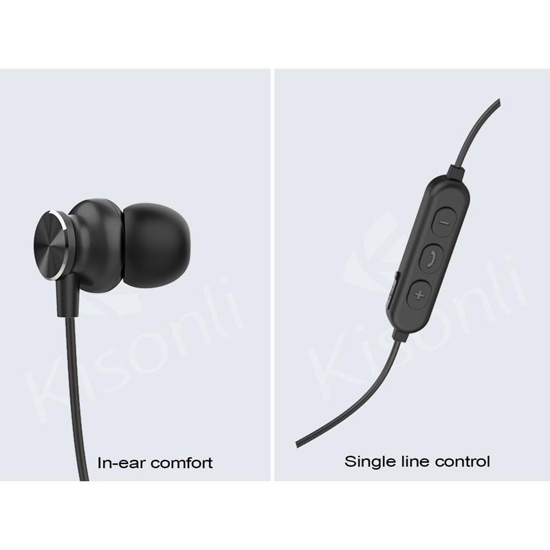 Tai nghe bluetooth thể thao Kisonli A2 chống nước tiêu chuẩn - thiết kế nam châm 2 đầu (đen)