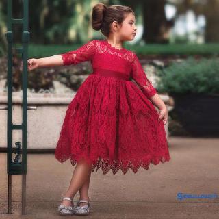 Đầm tay lửng cổ tròn kiểu dáng công chúa phối họa tiết ren hoa văn tinh tế thời trang 2019 cho bé 2-7 tuổi