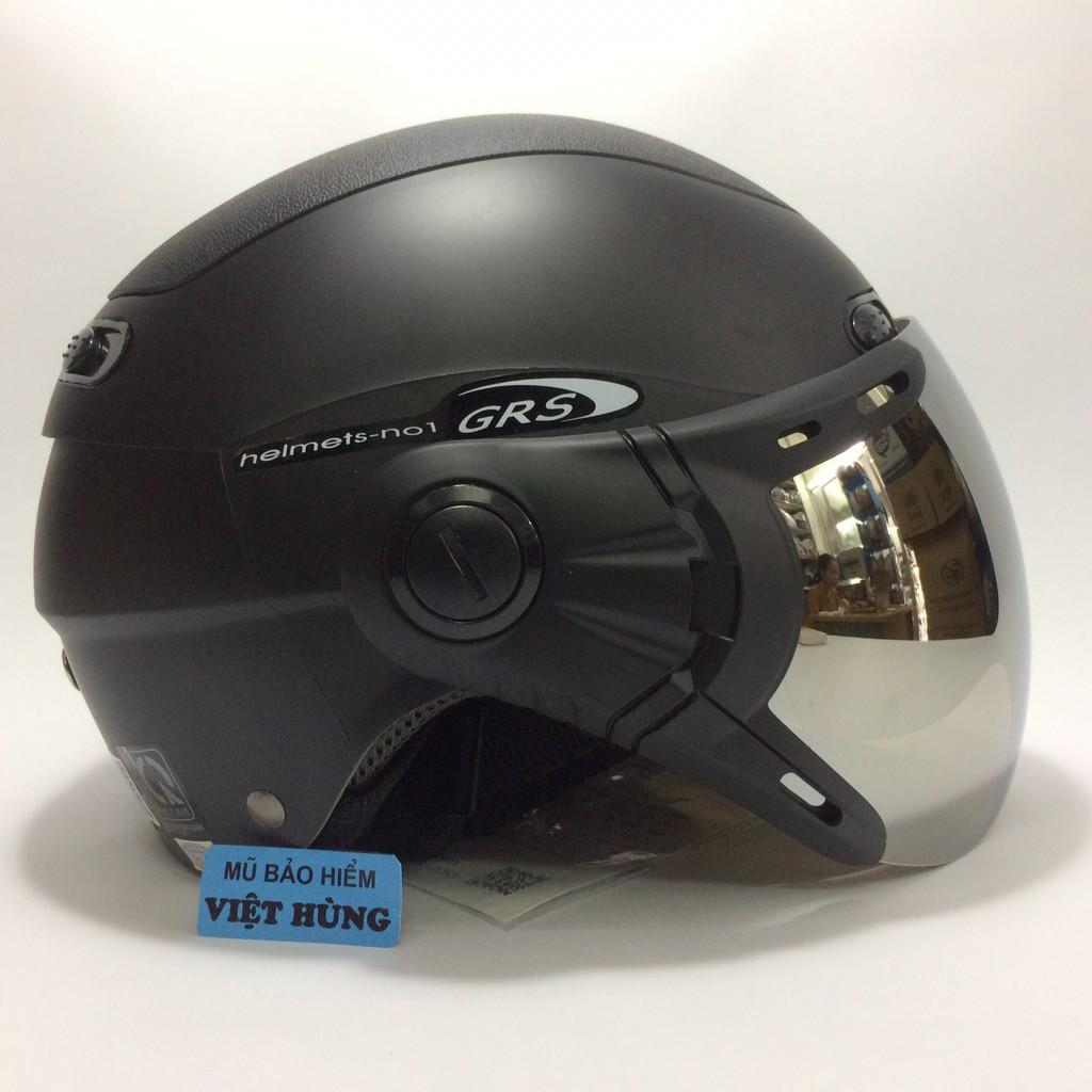BIG SALE - Mũ bảo hiểm GRS A102K (đen nhám - kính tráng gương)
