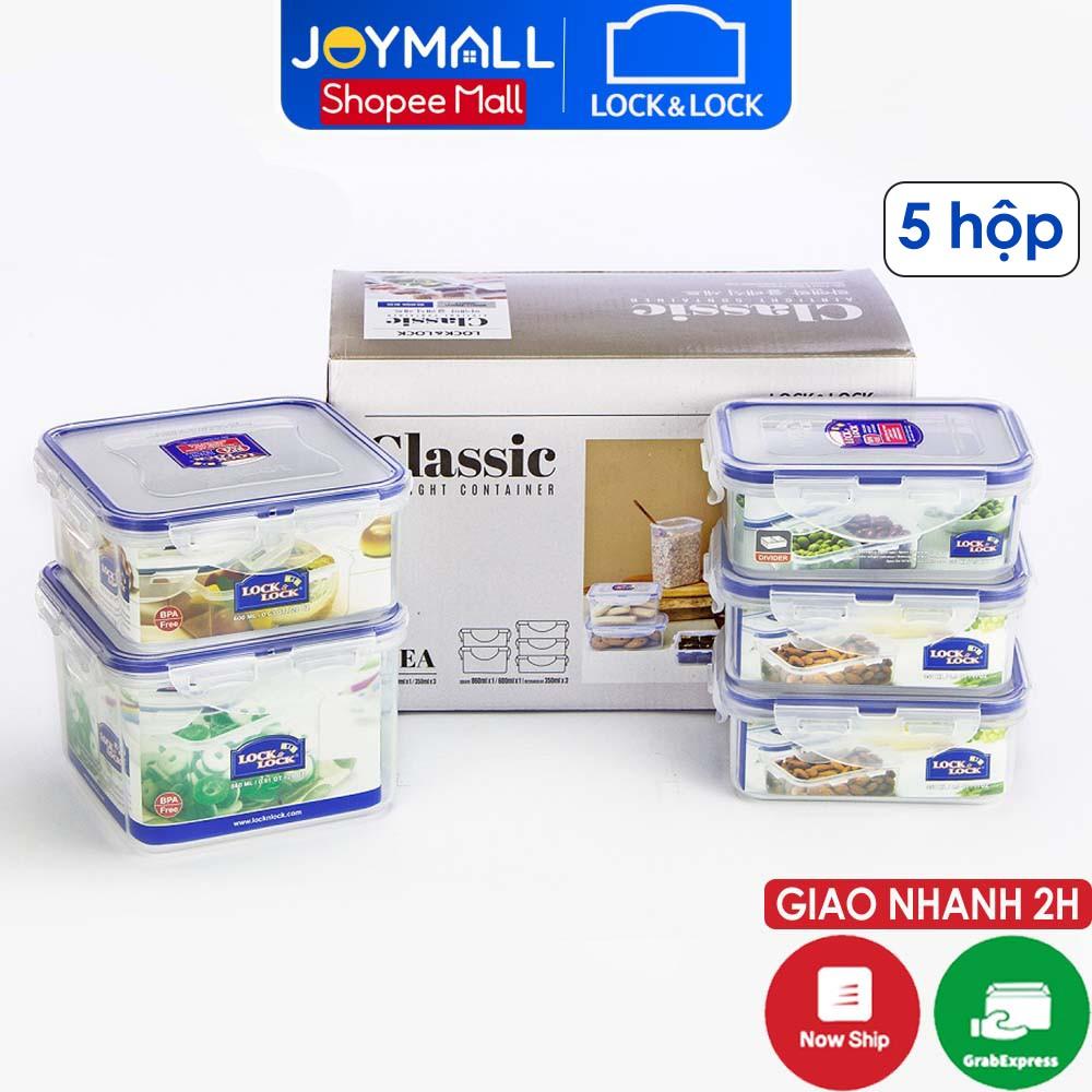 Bộ 5 hộp nhựa đựng thực phẩm Lock&Lock Classic HPL855S5 - Hàng Chính Hãng, Dùng Được Trong Máy Rửa Chén - JoyMall