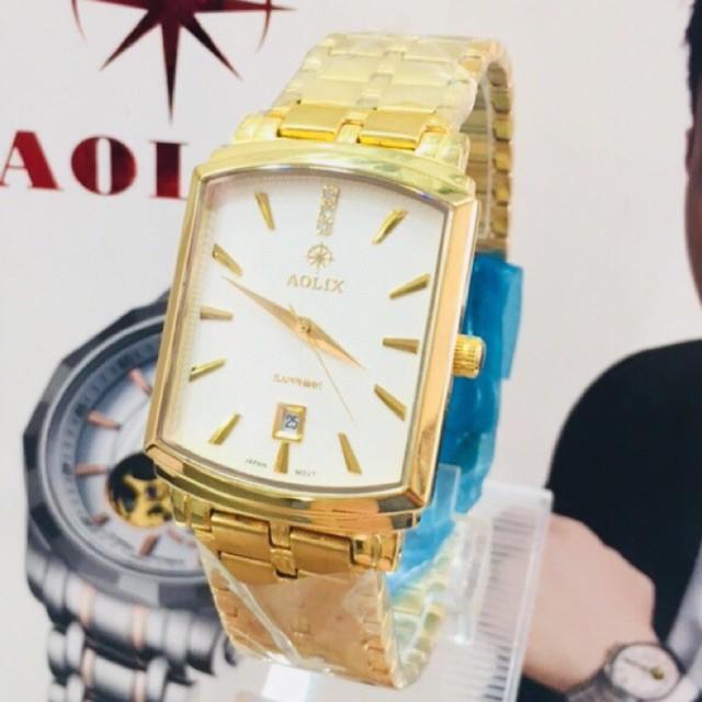 Đồng hồ nam Aolix AL9099 dây kim loại mặt vuông sang trọng