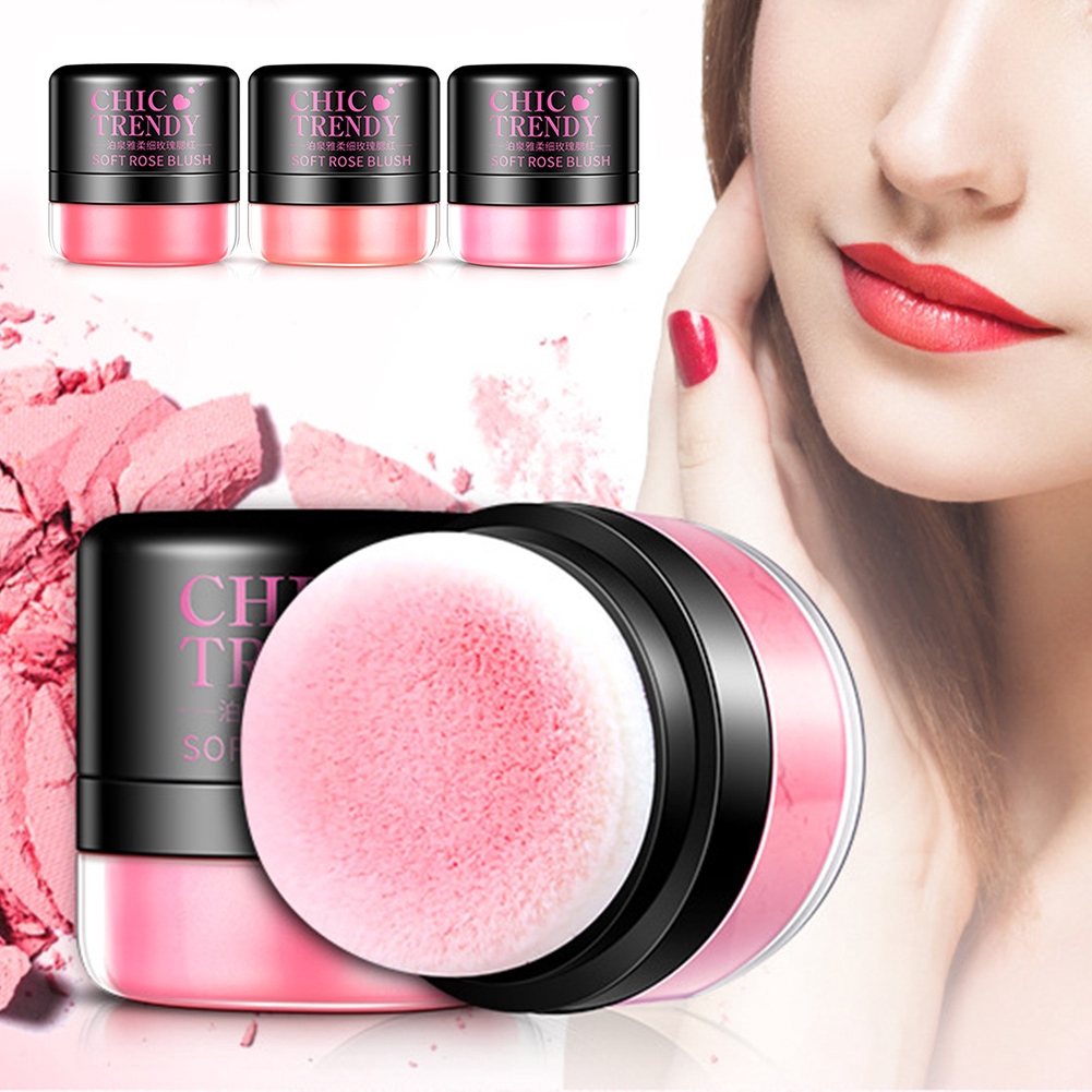 3 Colors Rose Essence Blusher  Makeup Cosmetic Cheek Blush Powder Palette Peach Pink/Coral Red/Peach Color #3