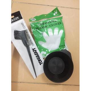 bộ dụng cụ bát + lược 2 đầu + bao tay nilong nhuộm tóc thumbnail