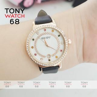 Đồng hồ nữ Guou chính hãng dây da đá 7 màu có lịch sang trọng chống nước thumbnail