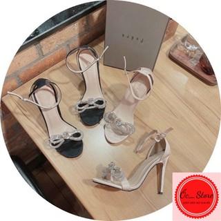 sandal quai mảnh gắn nơ đá, sandal gót nhọn 8-9cm, sandal kín gót