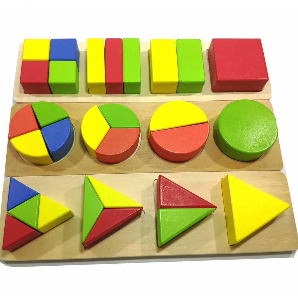 Đồ chơi gỗ Vivitoys - Đồ chơi Xếp hình học phân số