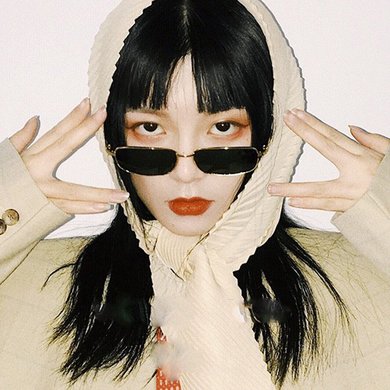 Feng Fan The Same Metal Punk Texture Simple Rectangular Glasses Sunglasses Rap Tide Cool Bungee Glasses Sunscreen