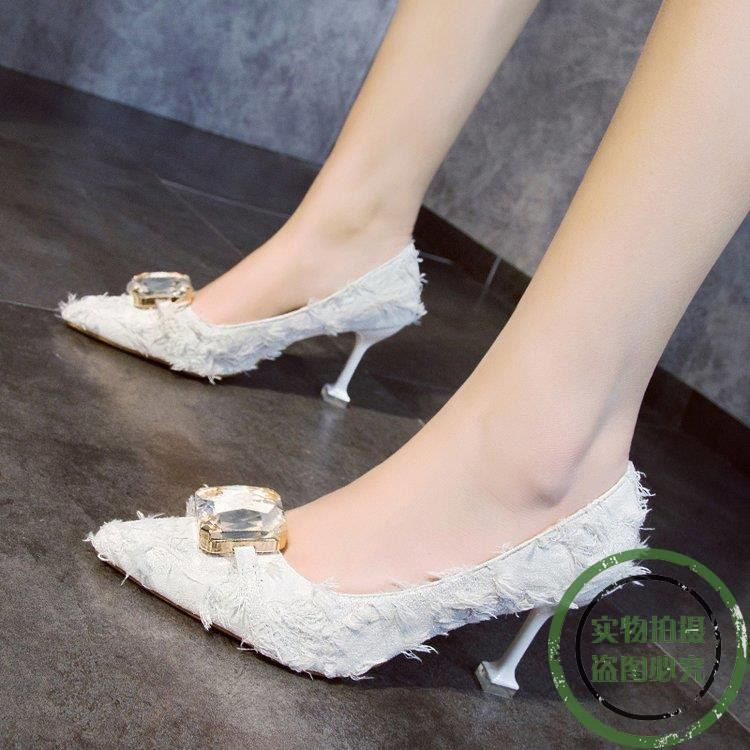 ♥ New spot ♥ 红 red high heels female 2019 new girl black wil