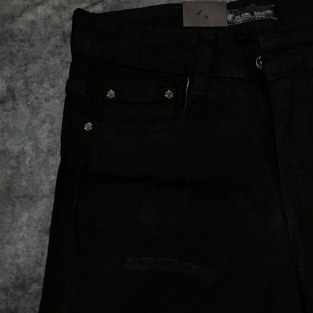 Quần Short Jeans Đen Xước Thời Trang