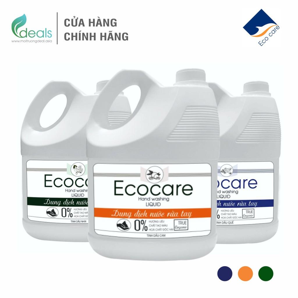 Nước Rửa Tay Bồ Hòn Hữu Cơ ECOCARE 4 lít - Sạch khuẩn, chăm sóc da tay, tinh dầu khử
