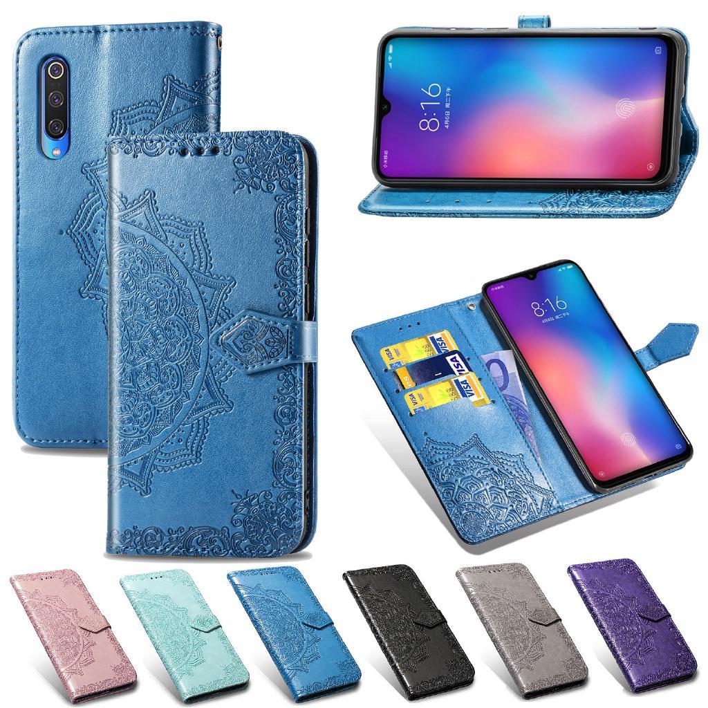 Bao da điện thoại nắp lật có ngăn thẻ kiểu Mandala cho Samsung Galaxy S21 S20 FE Ultra Plus A21S A50 A50S A30S A30 A20