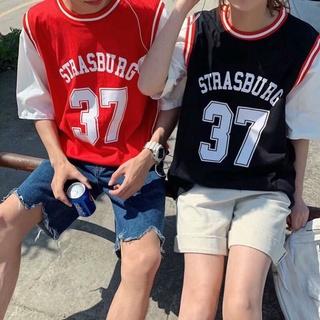 Áo bóng rổ nam nữ form rộng tay lỡ số 37 màu ĐỎ 8